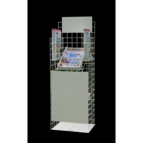 BP 05 RP - fronte Espositore dispenser per riviste a 3 tasche con deposito posteriore e tabella logo grande