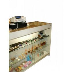 BANCO 03 Banco vendita in acciaio verniciato con top in legno e cristallo incassati.