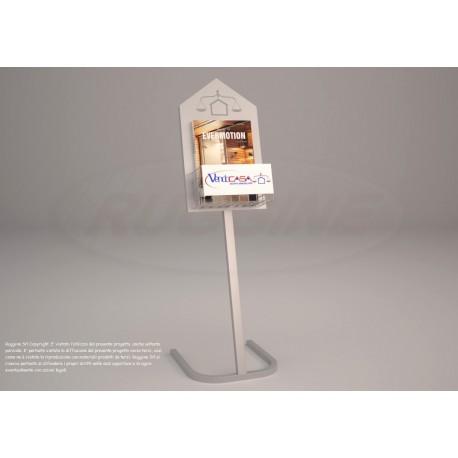 BP 003 C Espositore da terra in acciaio verniciato per riviste/volantini con tabella personalizzabile