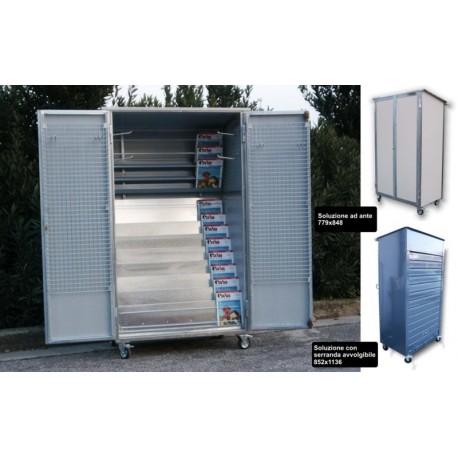 BOX Box per riviste in acciaio zincato e lamiere zincate verniciate bianco/grigio